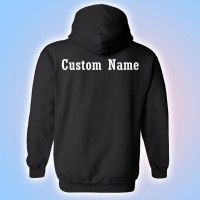 MMYFCL Black Competition Hooded Sweatshirt with Custom Lettering on Back
