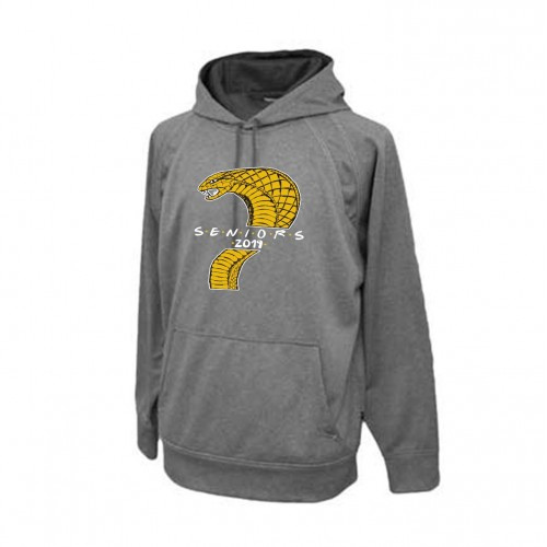 Harford Tech Class of 2019 carbon gray performance fleece with class names on back