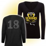 Harford Tech Class of 2018 Ladies Long Sleeve black v-neck with class names on back