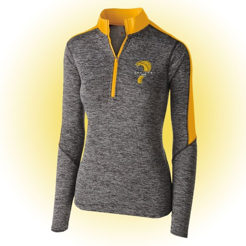 Class of 2019 Ladies 100% polyester carbon gray/gold 1/4 zip training pullover
