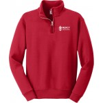 Mercy Unisex Red Quarter Zip Pullover Mercy High School embroidery