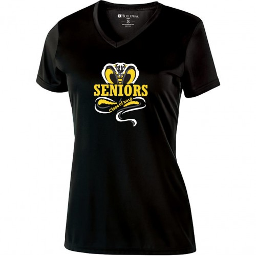 Harford Tech Class of 2018 Ladies black performance v-neck tee
