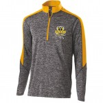 Harford Tech Class of 2018 Mens Heather gray and gold quarter zip pullover