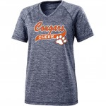 Cougars Ladies Performance V-neck  carbon/navy stripes