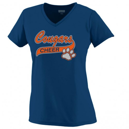 Cougars Ladies Performance V-neck navy with glitter