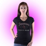 Dancemoves DANCE MOM Custom Rhinestone Black V-Neck tee Design 2
