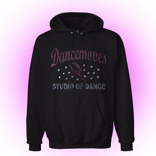 Dancemoves Custom Rhinestone Hooded Sweatshirt Black-Design 1