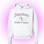 Dancemoves Custom Rhinestone Hooded Sweatshirt White -Design 1