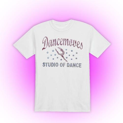 Dancemoves Custom Rhinestone Design 1 white t-shirt