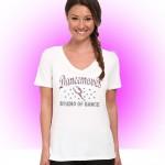 Dancemoves Custom Rhinestone White V-Neck tee Design 1