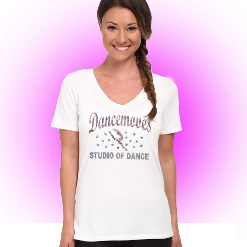 Dancemoves Custom Rhinestone White V-Neck tee Design 1