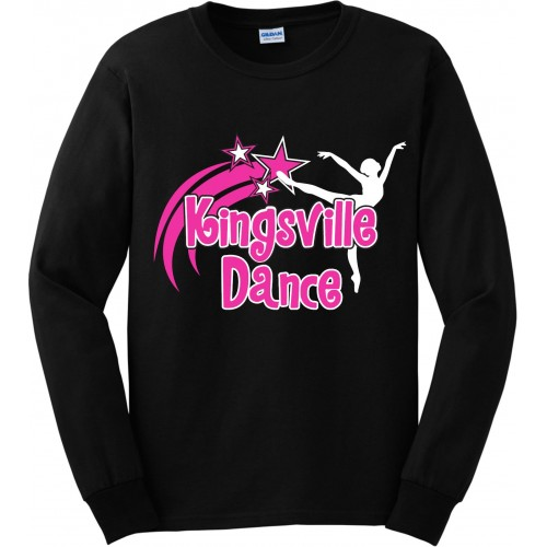 Kingsville Dance  logo Long Sleeve logo Tee black pink