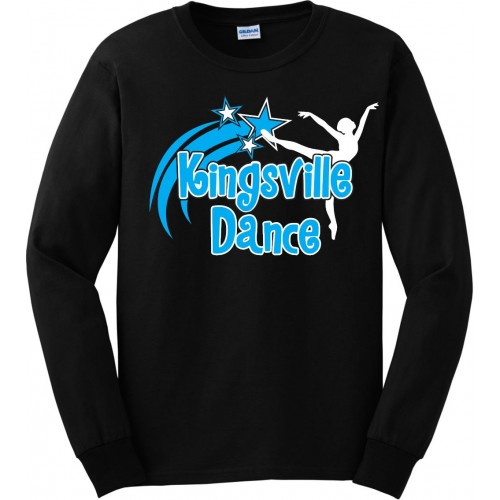 Kingsville Dance  logo Long Sleeve logo Tee black blue