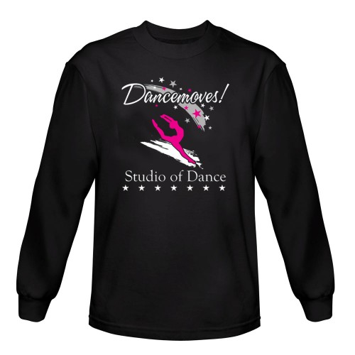 Dancemoves logo Long Sleeve Tee shirt Black ( Front print only)