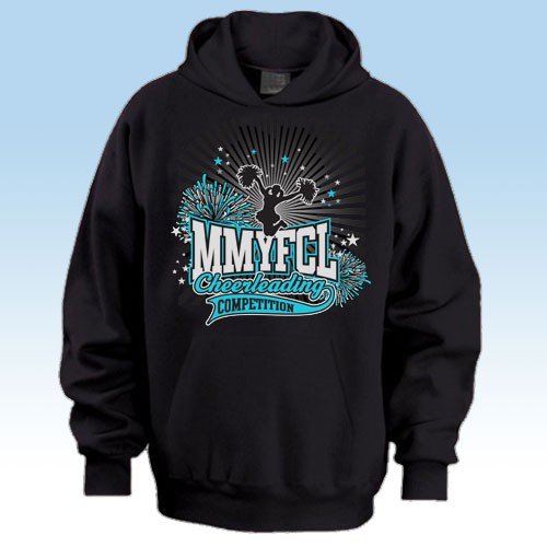 MMYFCL Black Competition Hooded Sweatshirt 2 black and teal blue