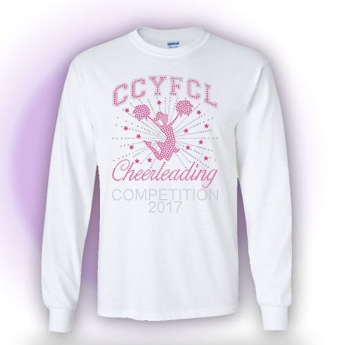 MMYFCL 2017 White Cheer & Pom Rhinestone long sleeve t-shirt