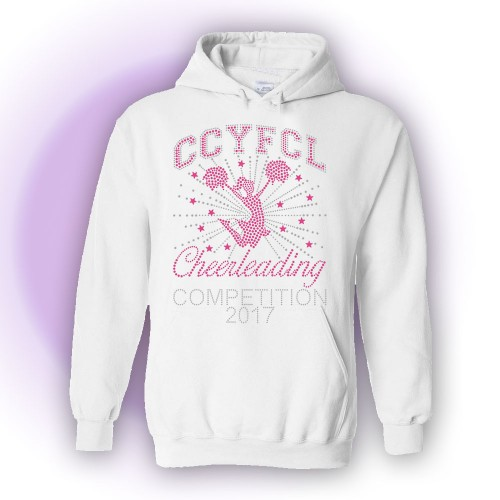 2017 MMYFCL Custom Competition Rhinestone Hooded sweatshirt White