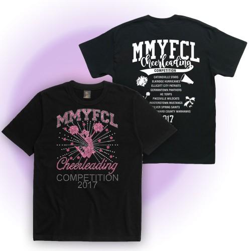 MMYFCL 2017 black Cheer & Pom Rhinestone short sleeve t-shirt