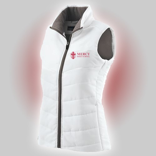 Mercy Ladies White Vest with Mercy High School embroidery
