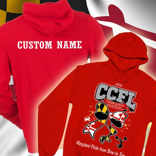 "CCFL 2016 Red Cheer & Pom  Competition Hooded Sweatshirt with Custom Lettering on Back - Front print will say"" Cheer & Pom Competition"""