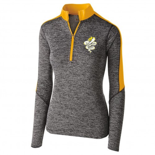 Tech Graphics Ladies carbon gray and gold quarter zip pullover with left chest logo