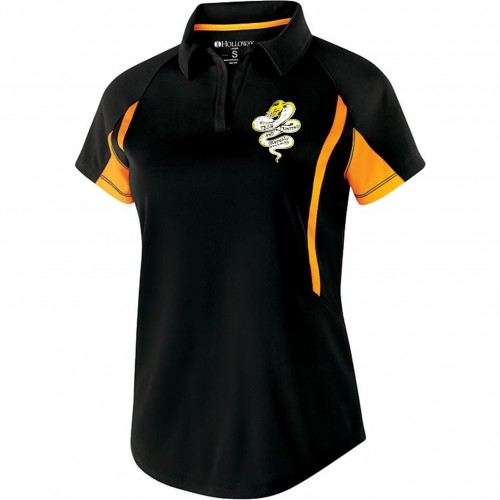 Tech Graphics Ladies black and gold polo shirt with left chest logo