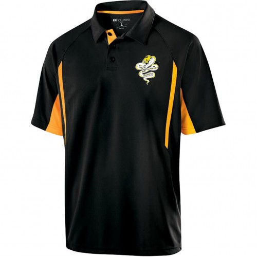 Tech Graphics MENS black and gold polo shirt with left chest logo