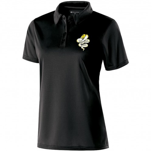 Tech Graphics Ladies black polo shirt with left chest logo