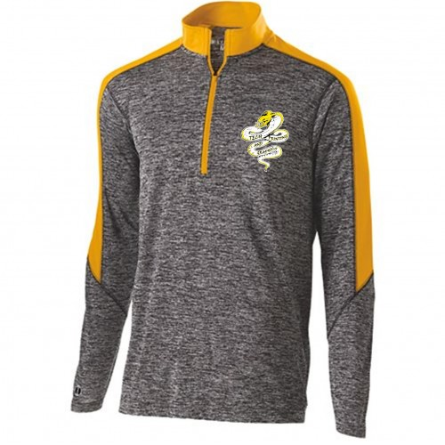 Tech Graphics MENS carbon gray and gold quarter zip pullover with left chest logo