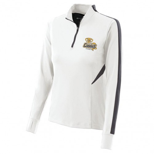Harford Tech Tennis Ladies 100% polyester white/carbon gray 1/4 zip training pullover