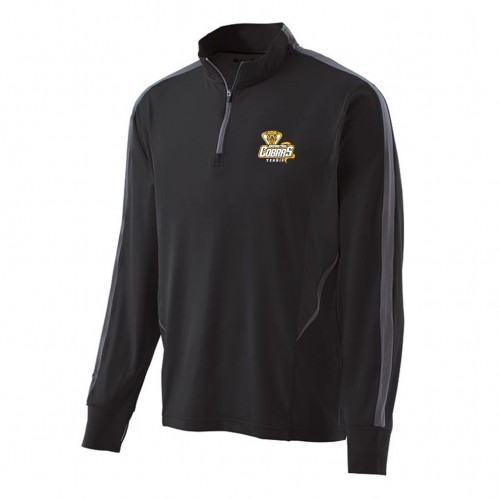Harford Tech Tennis Mens 100% polyester Black/carbon gray 1/4 zip training pullover