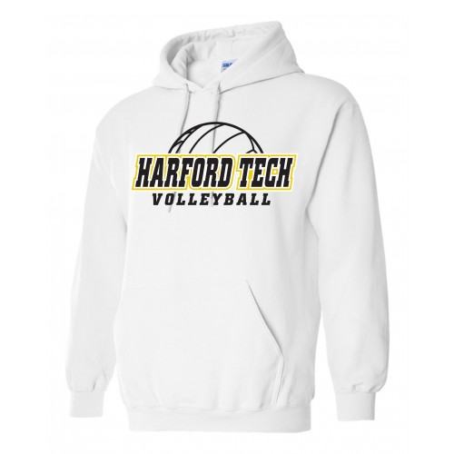 Harford Tech Volleyball Hooded white Sweatshirt