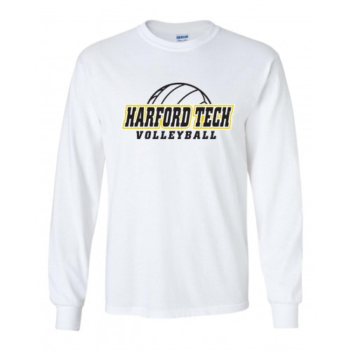 Harford Tech Volleyball White Long Sleeve tee