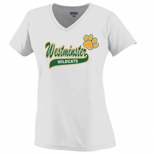 Westminster Wildcats Ladies White Performance v-neck tee