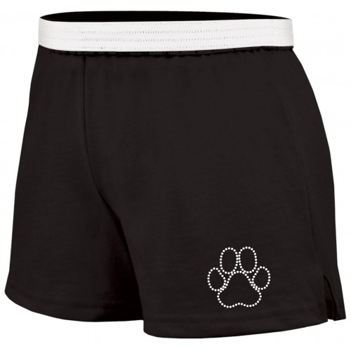 Soffe Black Cheer short with Rhinestone Paw