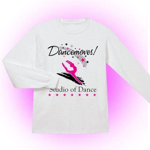 Dancemoves logo Long Sleeve Tee shirt White( Front print only)