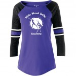 White Marsh Ballet 3/4 sleeve Loyalty fan shirt purple  with shimmer sleeves