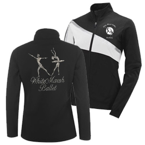 White Marsh Ballet Academy White Black Rhinestone Jacket