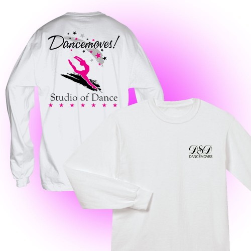 Dancemoves logo Long Sleeve Tee White ( front and back print)