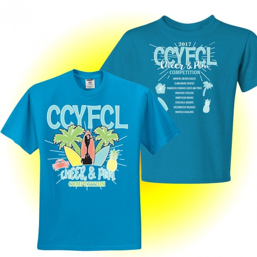 CCYFCL 2017 Cheer & Pom Surf Blue t-Shirt  with team names on back