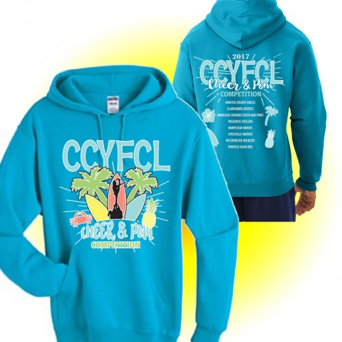 CCFL 2017 Surf Blue Cheer & Pom Competition Hooded Sweatshirt with team names