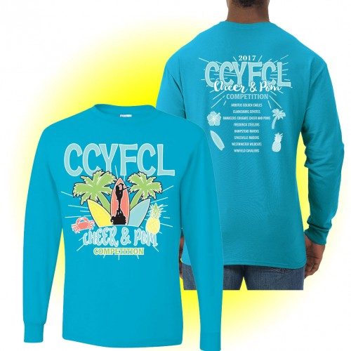 CCFL 2017 Surf Blue Cheer & Pom Competition Long Sleeve t-shirt with team names