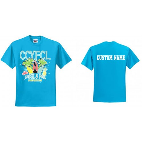 CCYFCL 2017 California blue  Cheer & Pom Competition t-shirt with Custom Lettering on Back