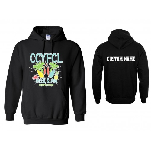 CCFL 2017 black Cheer & Pom  Competition Hooded Sweatshirt with Custom Lettering on Back