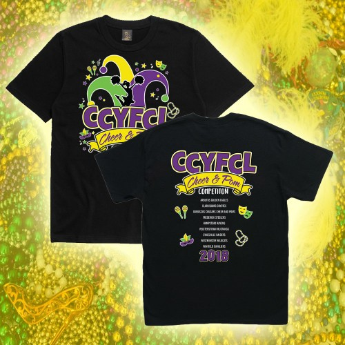*CCYFCL 2018 Mardi Gras Cheer & Pom black t-Shirt  with team names on back
