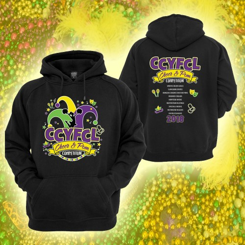 *CCYFCL 2018 Black Cheer & Pom Competition Hooded Sweatshirt with team names