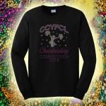 CCYFCL 2018 Mardi Gras Black Cheer & Pom Rhinestone long sleeve t-shirt