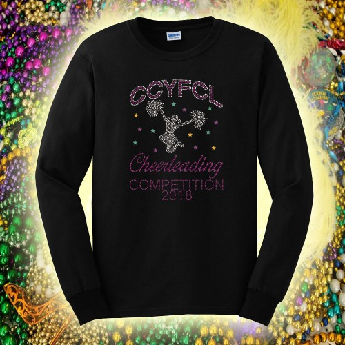 CCYFCL 2018 Mardi Gras Black Cheer & Pom Rhinestone long sleeve t-shirt
