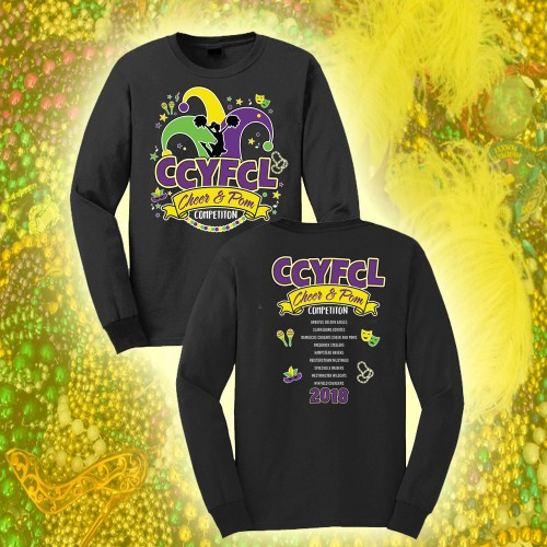 *CCYFCL 2018 Mardi Gras Black Cheer & Pom Competition long sleeve t-shirt with Team Names on Back