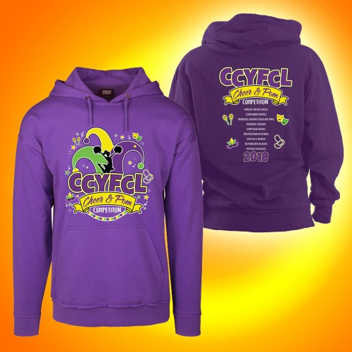 CCYFCL 2018  Cheer & Pom purple Competition Hooded Sweatshirt with team names